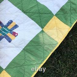 VIntage Antique Flower Quilt Hand Stitched Handmade Appliqué Quilt Green Yellow
