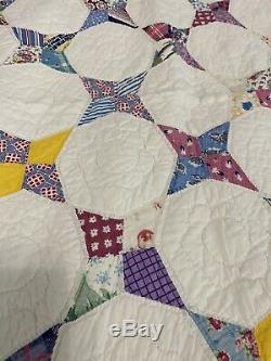 VTG 30s/40s Handmade Snowball Quilt Coverlet Bedspread 63'' x 83'