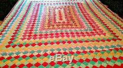 VTG 40'S Handmade Hand Stitched QUILT 70x63 MULTI COLOR 4 SQUARE QUILT