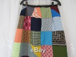 VTG 60s 70s Hippy Patchwork Quilt High Waist Wrap Skirt Handmade Boho Reversible