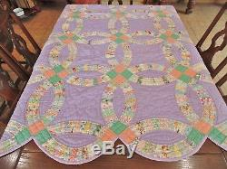 VTG ANTIQUE 1930'S PURPLE DOUBLE WEDDING RING QUILT HANDMADE HAND STITCHED 75x90