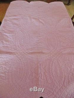 Vtg Antique 1930 S Purple Double Wedding Ring Quilt Handmade Hand Sched 75x90