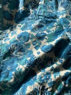 VTG ANTIQUE HANDMADE PIECED/SEWN FEED SACK 9 POINT star QUILT BLUE 70 x 86