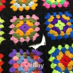 VTG Afghan Crochet Granny Square 42x72 Blanket Handmade Throw Bed Couch Quilt