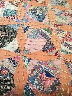 VTG Antique Handmade Quilt 65 x 80 Full Size Star Pattern Feed Sack
