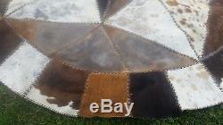 VTG COWHIDE WESTERN CIRCLE RUG-7.5 FEET ACROSS-HANDMADE STAR DESIGN-cabin quilt