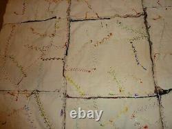 VTG Folk Art VELVET & SATIN HANDSEWN HAND EMBROIDEREDCRAZY QUILT TOP63. X52.5