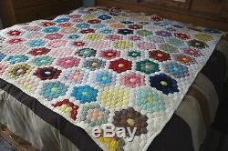 VTG Granny FLOWER GARDEN Patchwork Handmade Cotton Quilt Blanket 80 x 66