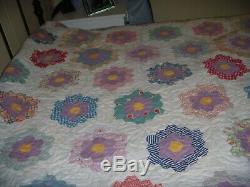 VTG Granny FLOWER GARDEN Patchwork Handmade Top American Quilt 78x69 Blanket