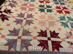 VTG Hand Made Stitched Sewn flower Friendship Quilt Feed sack 80 x 65 patchwork