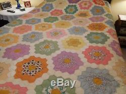 VTG Hand-Pieced Grandmothers Flower Garden Quilt Hand-Quilted Unfinished 92 x 80
