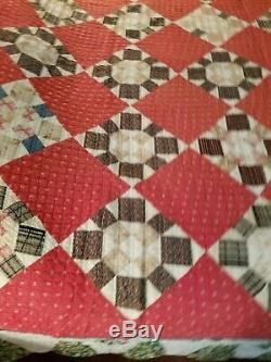 VTG HandMade Pieced Quilt Red Cream Tan 80x66 Twin Full Cottage Cabin Gingham