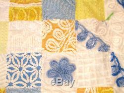 VTG Handmade Cottage BLUE YELLOW CHENILLE EYE CANDY PATCHWORK Soft THROW 40X60
