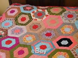 VTG Handmade Multi-Color Hexagon Design QUILT in Vibrant Colors 88 x 78