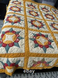 VTG handmade Quilt Farmhouse Shabby Rustic Primitive Yellow Handmade
