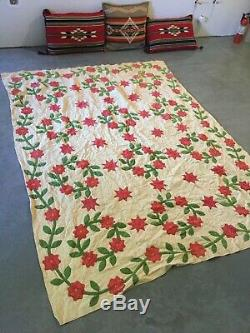 Vintage 1800's Quilt Cream Green Red HANDMADE 65 x 82 Flowers Lovely
