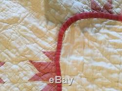 Vintage 1800's Quilt Cream and Red HANDMADE Rare Pattern 65 x 80 Stunning