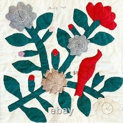 Vintage 1870s Album Style Folk Art Antique Quilt, Hand Stitched, Birds, Flowers