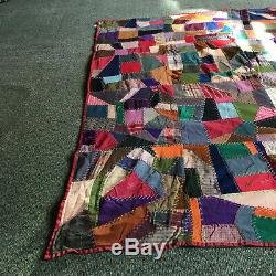 Vintage 1900's Colorful Amish Handmade Quilt Good Condition