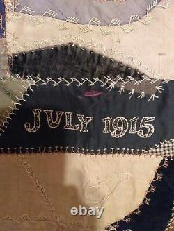 Vintage 1915 hand made crazy quilt. Quilt top Thin quilt