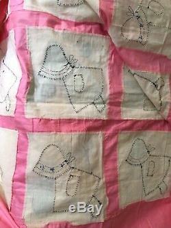 Vintage 1930's Handmade Sunbonnet Sue Feedsack Applique Quilt Top 70x82