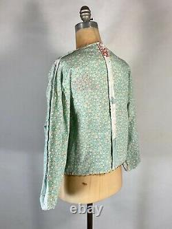 Vintage 1930's QUILT FABRIC up-cycled repurposed REVERSIBLE jacket withembroidery