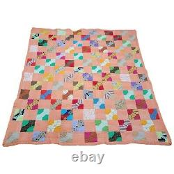 Vintage 1930s Bowtie Spool Antique Quilt Throw Feed Sack Hand Quilted 61x67