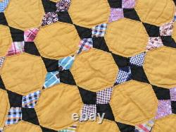 Vintage 1930s Hand Stitched American Quilt Hanging Octagon Stars 66x75