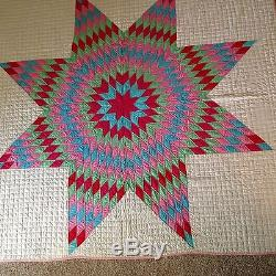 Vintage 1930s Lone Star Patchwork Quilt Handmade Art Never Used Mint Old Beauty