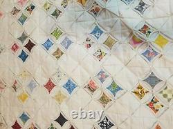 Vintage 1940s Beautiful Multicolor Cathedral Window Quilt Handmade 89 x 78