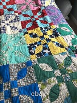 Vintage 1940s Idaho Block All Hand Made 70X84 Never Washed, Hung For Display