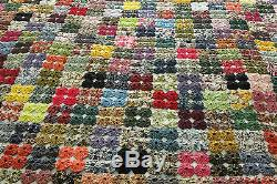 Vintage 1950's Hand Made YoYo Quilt made with Brunschwig & Fils Textile Fabrics