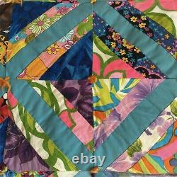 Vintage 1970s Handmade Strip Block Quilt 71 x 84 Neon Diamond Cut