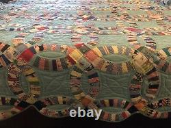 Vintage 1980s Handmade Double Wedding Ring Quilt 72 X 84 Never Used