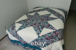 Vintage 1994 AMISH QUILT Handmade Flower Star Pattern 108 x 88 Pennsylvania