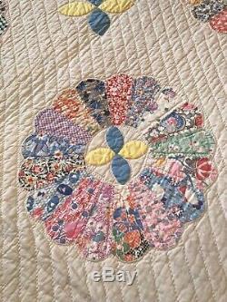 Vintage 30's Fabric Handmade Dresden Plate & Applique QUILT 70x88 Blue Backing