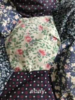 Vintage 40's 50s Patchwork Quilt Double Bedspread Handmade Blanket Boho Hippy