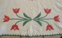 Vintage 40s Album Applique Quilt Pink Red Tulip Dense Hand Quilting Point Border