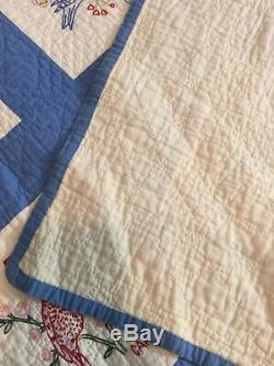Vintage 48 State Birds Quilt White Blue EMBROIDERED 92 x 68 Handmade C 1940's