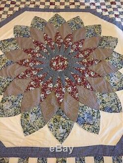 Vintage 50s quilt cover queen piece hand sewn stitch stars floral 100% cotton