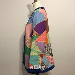 Vintage 60s 70s Boho Festival Handmade Patchwork Quilted Jacket Coat M/L