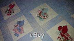 Vintage 70s Sunbonnet Sue Doll Handmade Quilt Blanket Girl Bonnet Patchwork