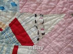 Vintage 8 Point Star Hand Made, Hand Quilted 66 x 74 Quilt