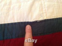 Vintage 82x82 Handmade Handstitching hand Quilted Patchwork Quilt Blanket
