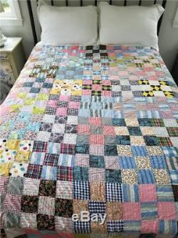 Vintage 9 Nine Patch Handmade Quilt