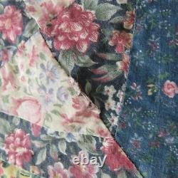 Vintage 90s Handmade Quilt Blanket Hourglass Country Cotton 83 x 83 in square