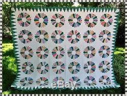 Vintage ALL Handmade Dresden Plate Feedsack Quilt 80 x 94 ESTATE FIND