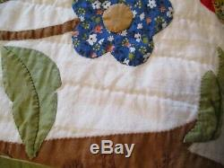 Vintage AMERICAN Handmade Tree of Life Applique Quilt MINT Gift Quality