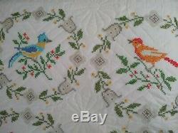 Vintage APPLIQUE Bird-Floral Handmade Quilt H U G E 98 x 100