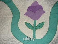 Vintage APPLIQUE Tulip Handmade Quilted Quilt H U G E 89 x 94 inches